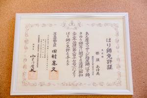 鍼の国家免許画像、国家資格